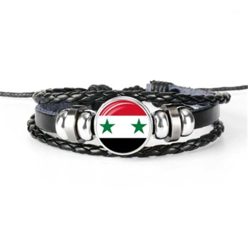 Hot sale flag bracelets for Tajikistan, Tanzania, Tonga, Tunisia, USA, Syria, hand-woven leather bracelet gift1