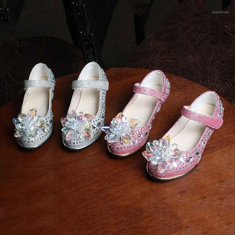 Детские хрустальные туфли из искусственной кожи круглый носок крутой низкий каблук девочек платье обувь принцесса свадьба партия танцевальная сцена сингла # 26-371
