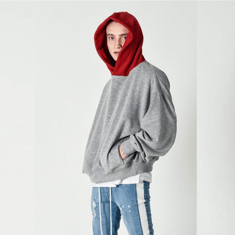 Cinzento Hoodies Hooded Casual Pulôver Primavera Com Capuz Contraste Mens Mens Moletons Hipie Hip Hop Streetwear Manga Longa Masculino