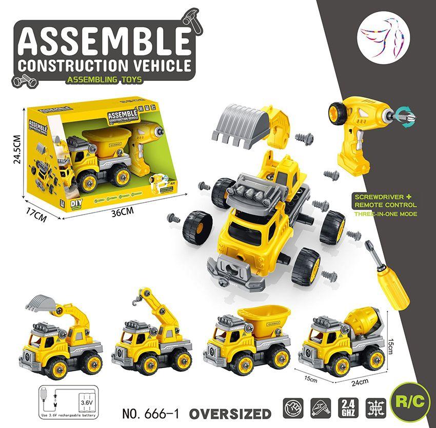Kinder 2,4G RC Bagger Modell Spielzeug, DIY Montage mit Elektrobohrer, Betonwagen, Muldenkipper, Kran, Bulldozer, Weihnachten Geburtstagsgeschenk, 2-1