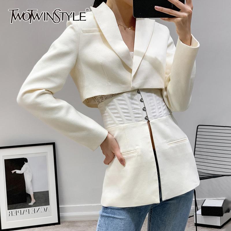 TWOTWINSTYLE Patchwork blanc manteaux de femmes vestes col à revers manches longues Tunique pour la mode Femme Automne Vêtements Tide 201020
