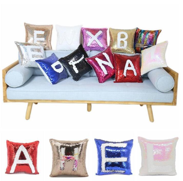 Magic Pillowcase Sequin Pachwork Coloes Cace DIY Blank Sublimation Pillow Cushion Personalized Customized Gift DHC3320