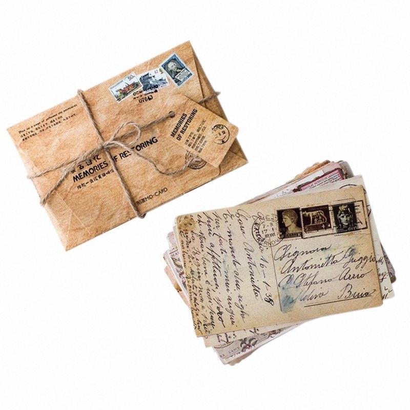 mesajı kart 5DHl # set Kart Kartpostallar Doğum Bussiness DIY Hediye kartları Tebrik 30pcs / pack Retro hatırlama serisi