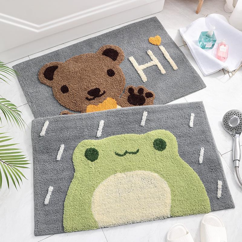 ours mignon et jeune grenouille Paillasson tapis mou brun vert tapis Cartoon salle de la maison Balcon porte tapis absorbant cadeau antidérapante