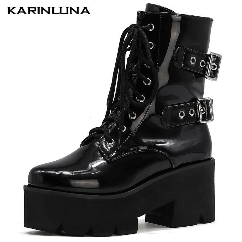 Patentes Karin 2020 Moda Hot Sale Bukle Correias mulheres sapatos de plataforma quadrada Grosso Heesl Lace-Up Motos Botas
