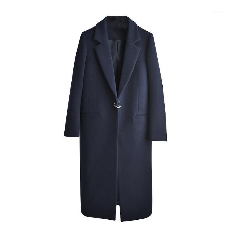 Женская шерсть смесится осень зима пальто женщины 2021 повседневная плюс размер с длинным рукавом толстые куртки женский элегантный костюм воротник теплые смесь1