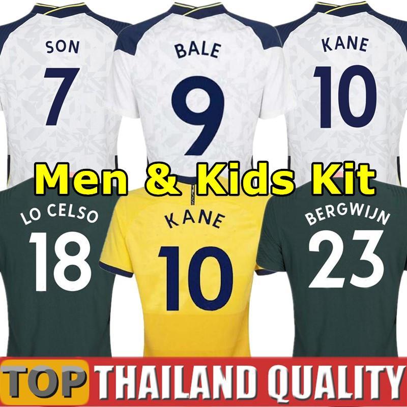 20 21 Tailândia Tottenham KANE BERGWIJN camisetas de futebol Hotspur 2020 2021 LUCAS DELE SON conjunto de camisa de futebol NDOMBELE Homens Kids Kit uniformes