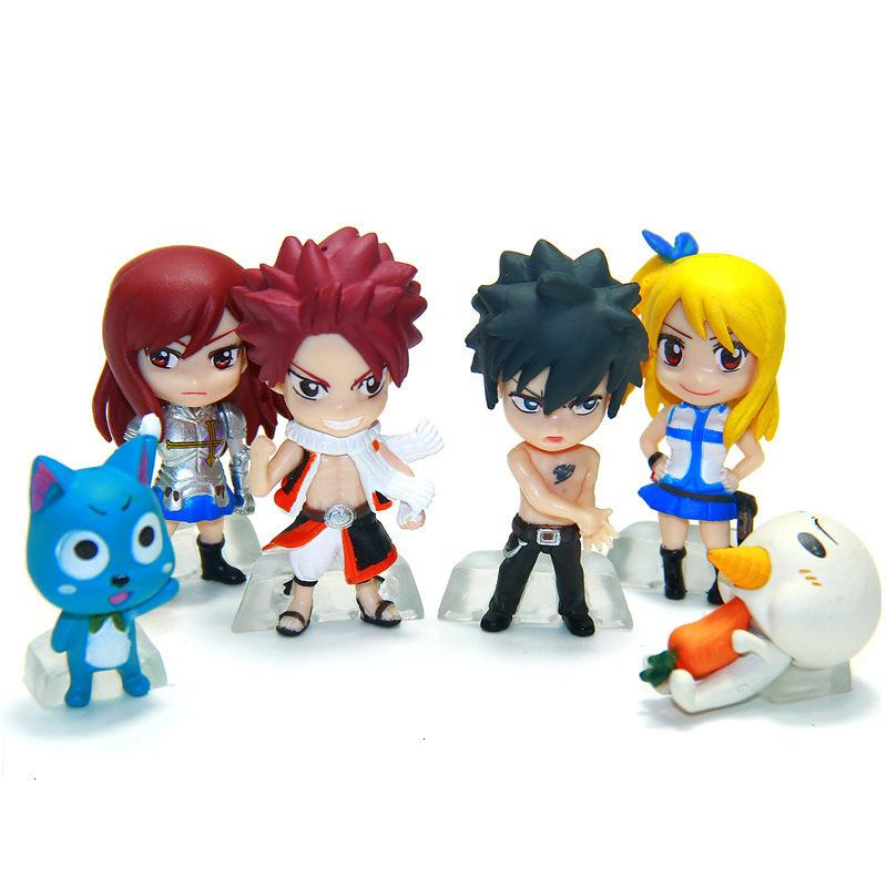 6 pcs Anime Fairy Tail Natsu Happy Lucy Gray Erza Plue Doll Action Figure Figurine Play set Toy Cake Topper Kids Gift