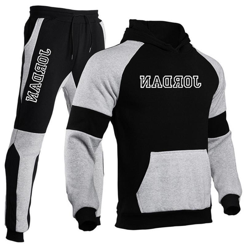 Высококачественный трексуит Мужчины толстовка с капюшоном + брюки Пуловер наборы Осень и зимняя спортивная одежда Повседневная Верхняя одежда Спорт 2 шт.