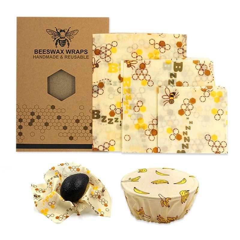 Wiederverwendbare Food Wrap Bienenwachs Wrap Cover Kunststoff Sets Bienenwachs Wrap Tuch Bio Baumwolle Mesh Aufbewahrungstasche Küche Lagerung Umweltfreundlich