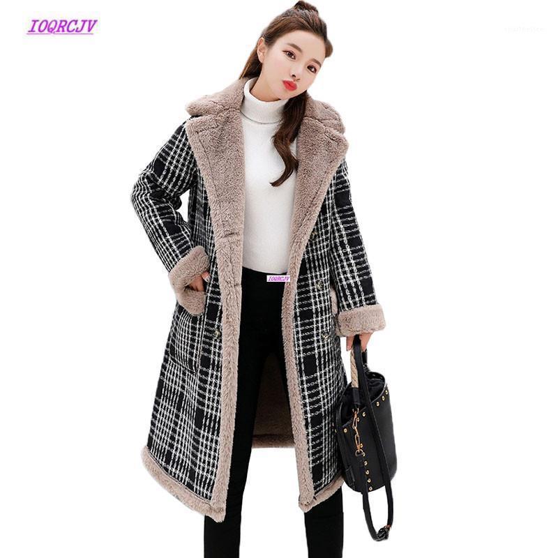 Женская шерсть смесится большой размер плед шерстяное пальто женское длинное раздел осень зима 2021 корейский плюс хлопок бархатная куртка женские w1791