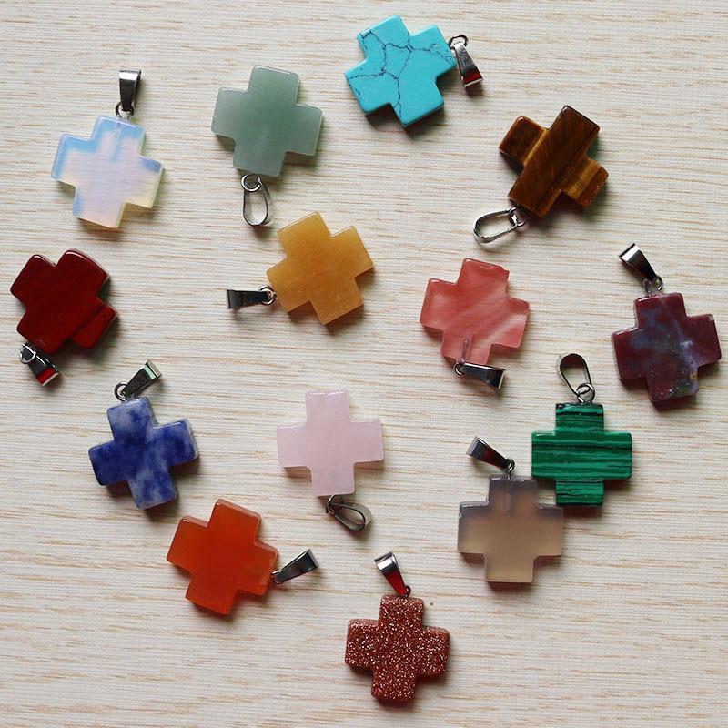 Croce ciondolo gioielli assort misura i monili Collane fare ciondoli in pietra naturale di moda