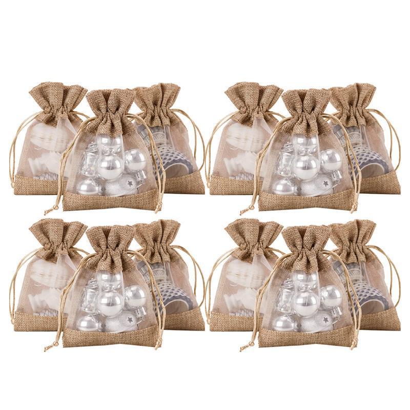 4x5.5 pouces 20 pcs Sac-cadeau de cordon de cordon de jute - Buckap avec un côté Partie de mariage Organza Bienvenue Sacs de faveur - Tan