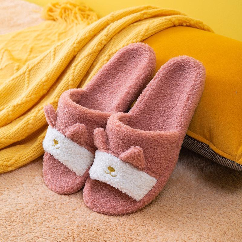 Женщины зимние крытые пушистые тапочки дома меховые тапочки для женщин спальня теплые стая плюшевые пары милая обувь