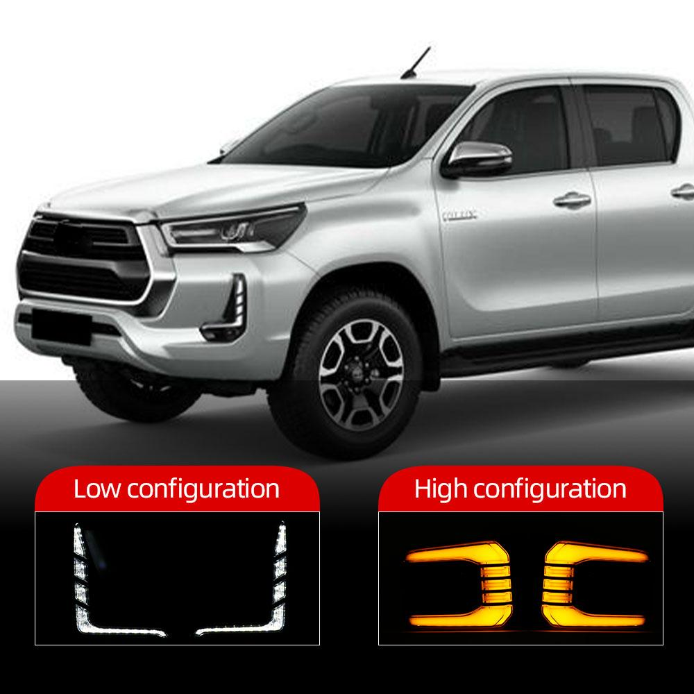 2 stücke Auto LED Tagfahrlicht für Toyota Hilux Revo Rocco 2020 2021 Runden Sie gelbes Signalrelais 12V DRL Tageslicht