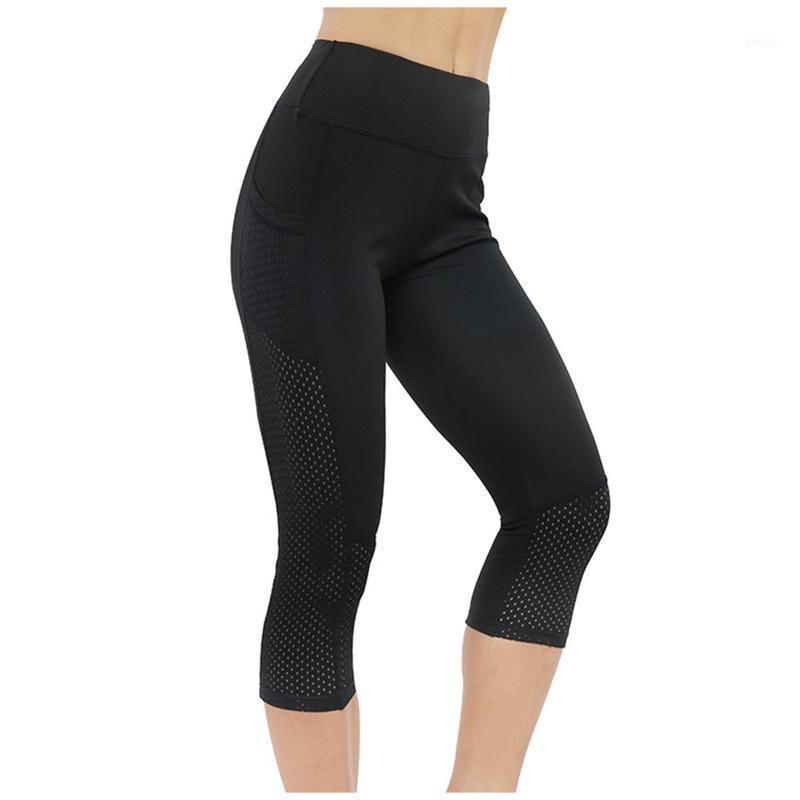 Леггинсы спортивные женщины фитнес боковой карманный мобильный телефон сетки обрезанные высокие растяжки бодибилдинг тренировки сплошные брюки женские 20211