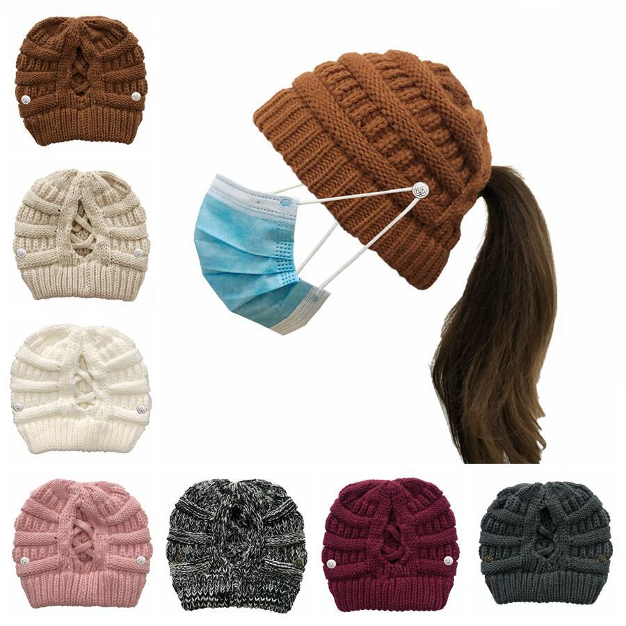 Kadınlar Örme Ayrılabilir Düğme Criss çapraz at kuyruğu Beanie Kış Açık Yün Şapka Yetişkin Kayak Kafatası Örme Cap DDA672 Isınma Caps