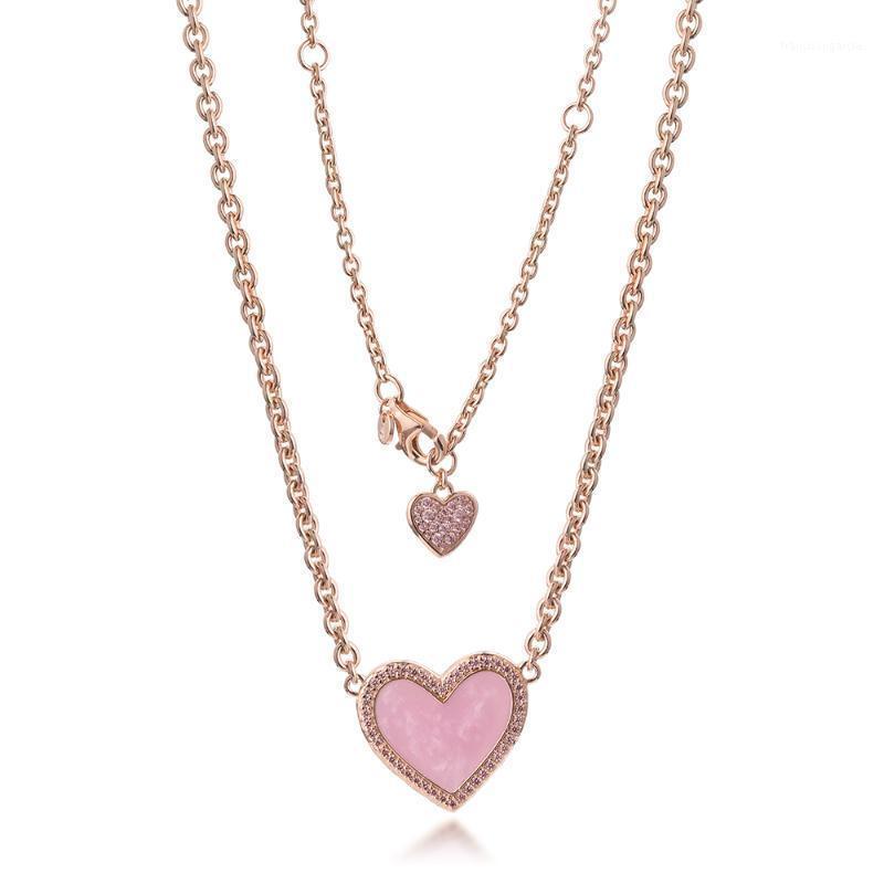 Pink Swirir Cœur Collier Collier Collier Pendentif Colgantes Colgantes Colliers Pingente Collier 925 Sterling Argent Collier Femmes bijoux1