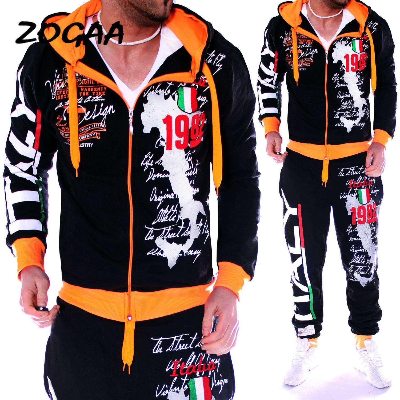 Zogaa Spring Automne Sweat à capuche Veste de pull + Joger Sweatpants Man Printage Costumes TrackSuit Hommes Casual Patchwork Sportwear Set LJ201125