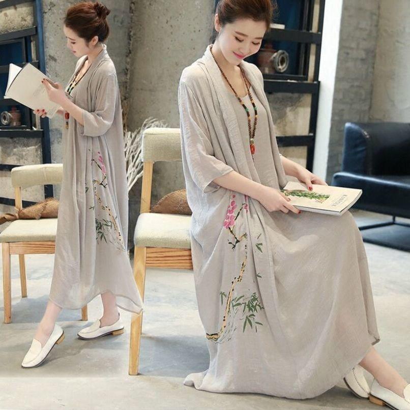 Neues Sommermode-Kleid in 2 Stück chinesischen Bademantel gedruckt mit langärmliger Robe und großer Leinen