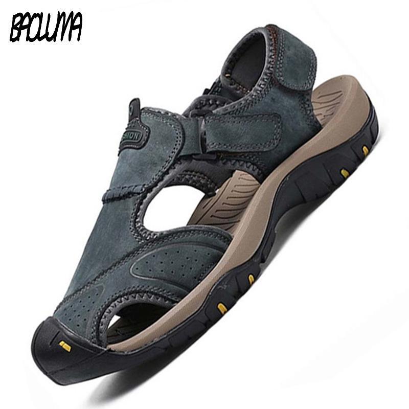 Klasik Yaz Ayakkabı erkek Sandalet Roma Yumuşak Hakiki Deri Kalite Adam Yaz Rahat Ayakkabılar Erkekler Plaj Sandalet Büyük Ayakkabı T200420