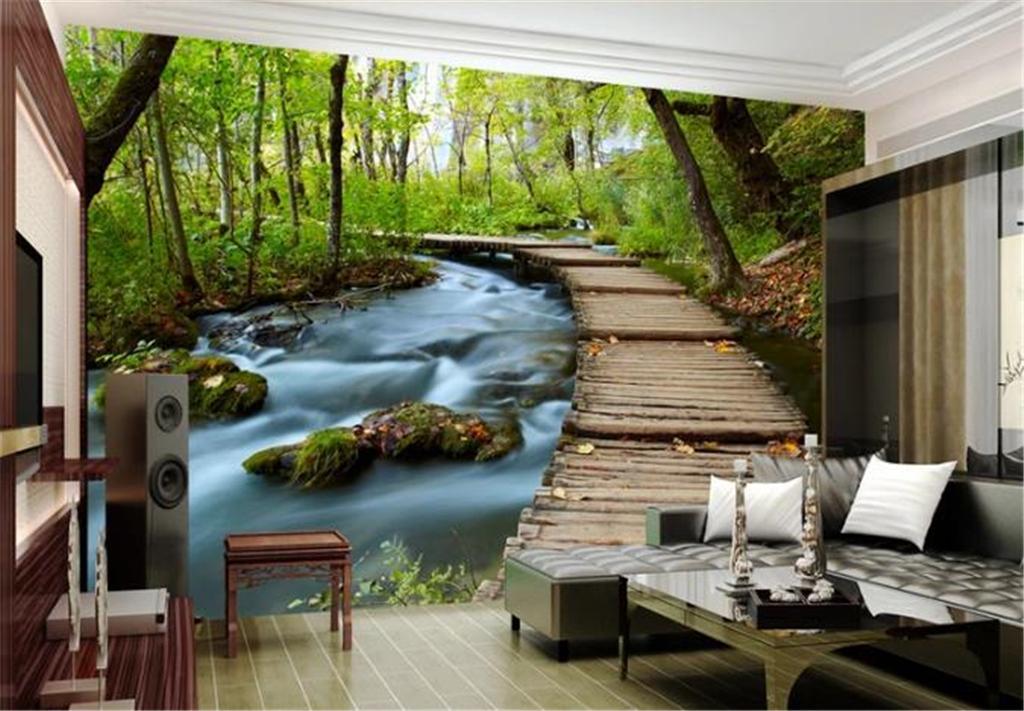 Пользовательская Mural 3D обои Садового 3D Landscape ТВ фон стены обои HD цифровой печать Влага Обои