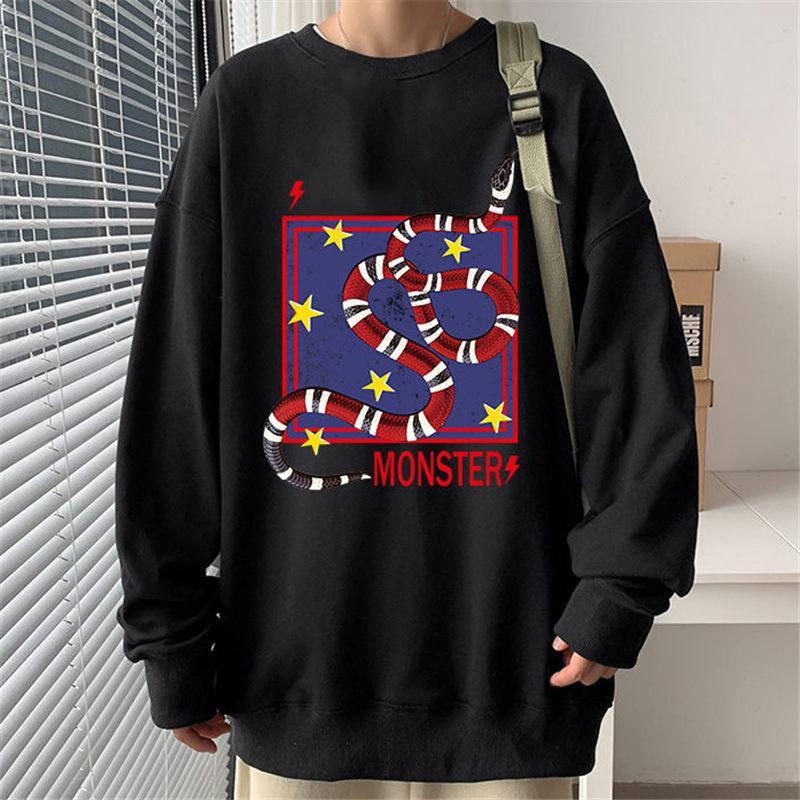 빈티지 세련된 남자 스웨트 고품질 코튼 아늑한 스웨터 20ss 남성 여자 가을 겨울 뱀 괴물 인쇄 땀 셔츠 코트