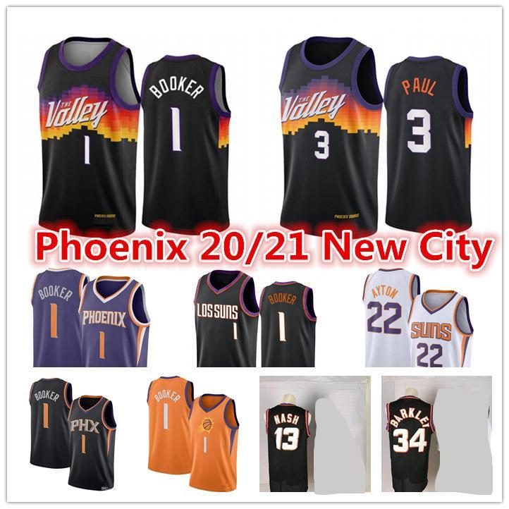 Chris Paul Phoenixmen 2020-21 Bdevin Booker Deandre Ayton Black City Valley Basketbol Forması