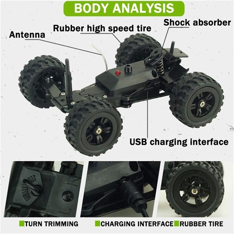 Spielzeug für Jungen Radiogesteuerte Autos Auto Mini Coche RC Autos 1/32 Fast Off Road Buggy Crawler High Speed Car 201218
