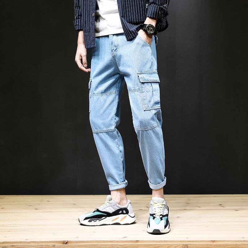 All'ingrosso 2020 del denim di modo casuale utensili jeans larghi piedi tasca a più degli uomini perdono piedi Larghezza pantaloni estivi coreani primavera marchio