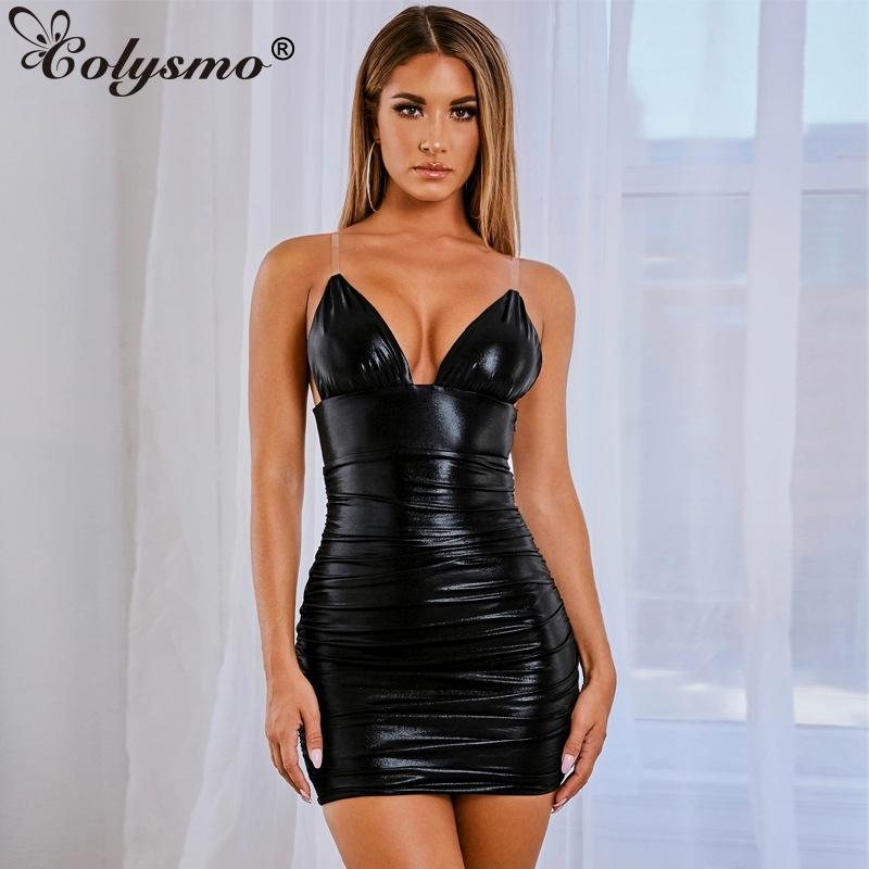 Colysmo Ruched Bodycon Sexy Dress Sexy Trasparente Spaghetti Strap Sleeve Backless Club Party Dress Solid Low Tagli Slim Summer Dresses Y200418