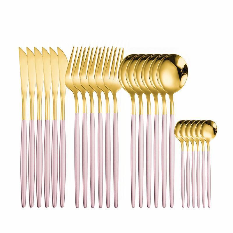 Spklifey Cutelaria Gold 24 Pcs Golden Cutlery Set Deixado De Aço Inoxidável Conjunto de Louça de Colher Set Forquilhas Fóruns Facas Colheres Novo H Bbytwn