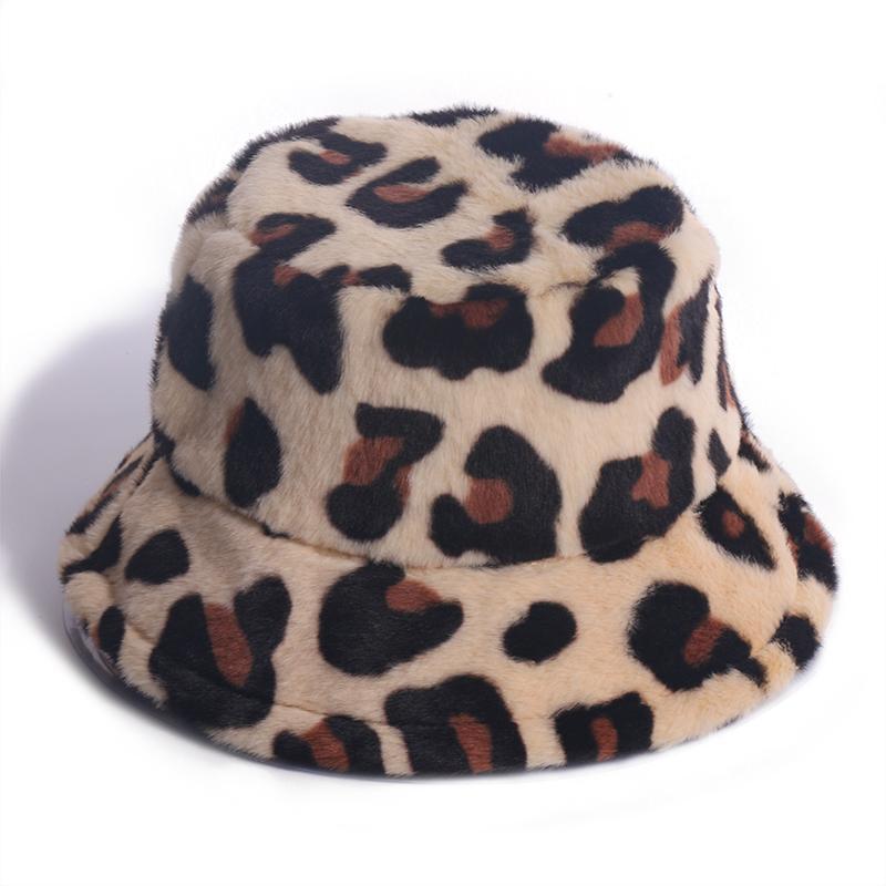 Winfox New Fashion Weiche Leopard Faux Fell Eimer Hüte Für Frauen Warme Caps Winter 2020