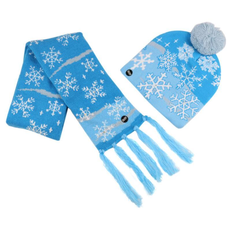 Led Christmas Knitted Hats and scarf Kids Baby Moms Winter Warm Beanies Crochet Caps For Pumpkin snowmen Festival party decor LX3451