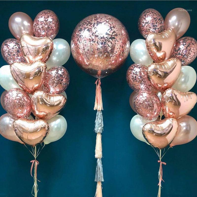 Globos de oro de rosa 18 pulgadas del corazón de la hoja de aluminio Decoraciones de la boda 36 pulgadas de confeti de la decoración de globo de la decoración de la fiesta de cumpleaños1