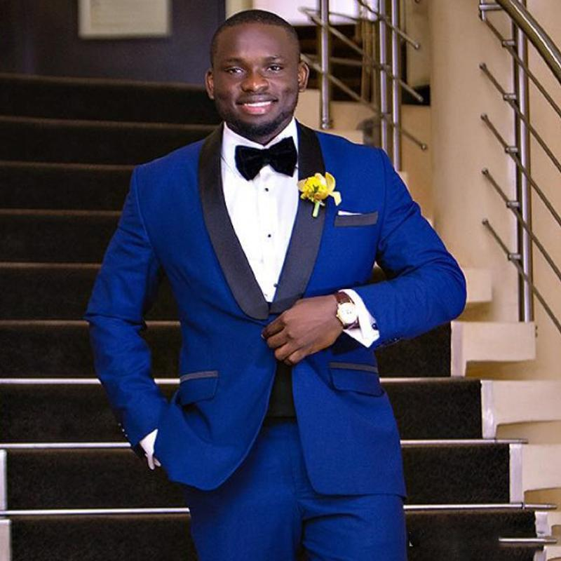 2019 Papillon + Blazer + pantaloni New Royal Wedding Blue Suit One Button Abiti Slim Fit smoking dello sposo Uomo per nozze Two Pieces