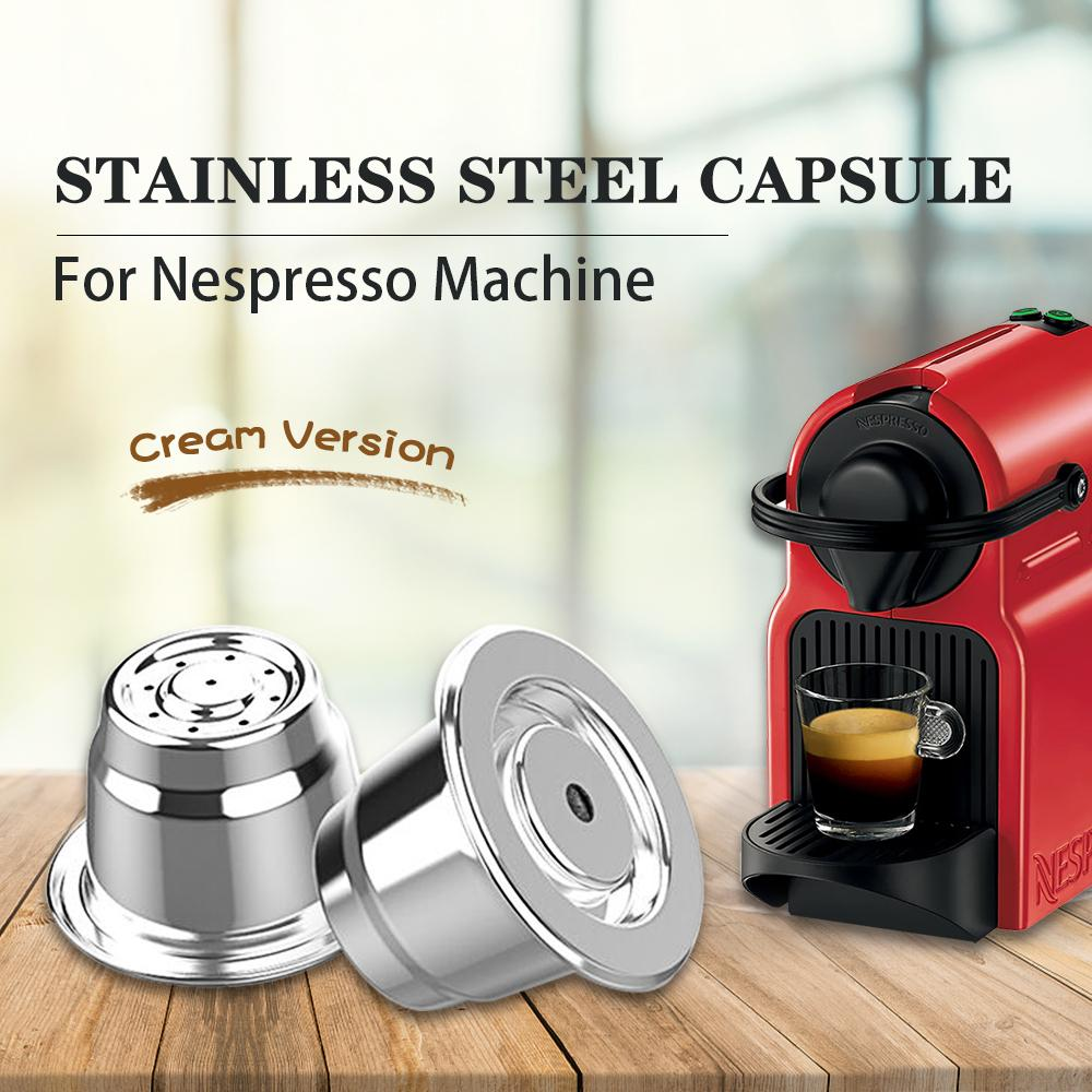 Creme Nespresso nachfüllbar Kaffeekapsel Pod Edelstahl Espresso-Kaffee-Filter Tamper Capsule Reutilisable Coffeeware 1021