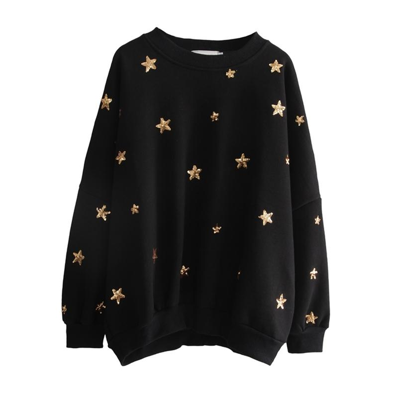 ВОЗМОЖНО У женщин осени зима шея экипажа черная звезды блесток шика блуза пуловеров вскользь H0037 201007