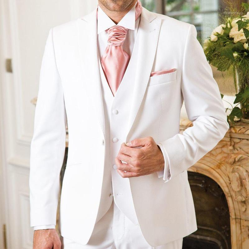 Three Piece White Groom Wedding Tuxedos 2020 Classic Style Peaked Lapel Custom Made Evening Party Men Suits Jacket Pants Vest1