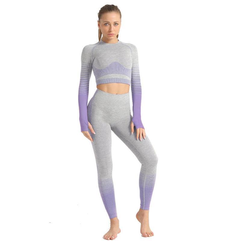Manga Longa Sem Emenda Mulheres Yoga Conjunto de Roupas Esporte Ginásio Ternos Desgaste Running Roupas Cintura alta Ioga Conjuntos de Fitness para Mulheres