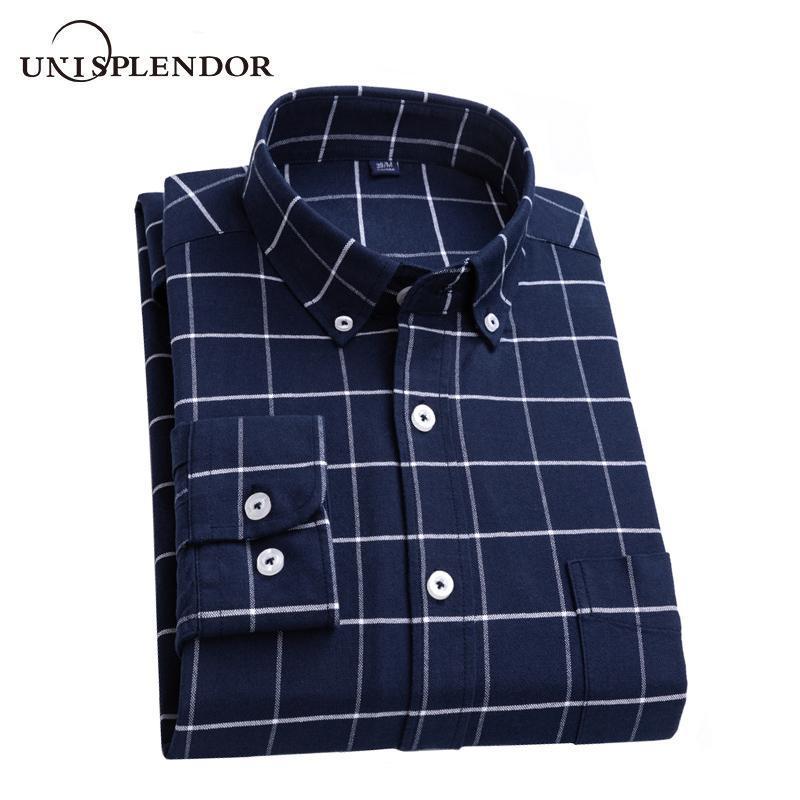 Мужские рубашки 100% хлопок Plaid вскользь человек Рубашка Бизнес Мужчины Рубашка Мужской Оксфорд Рубашки Новая весна с длинным рукавом Карманный YN10602