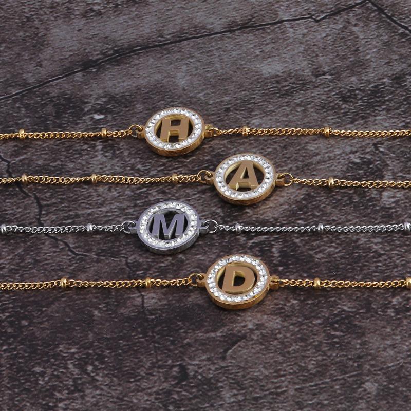 Pulsera de moda de acero inoxidable mujer pulsera de acero letra brazalete regalo mejor amigo joyería