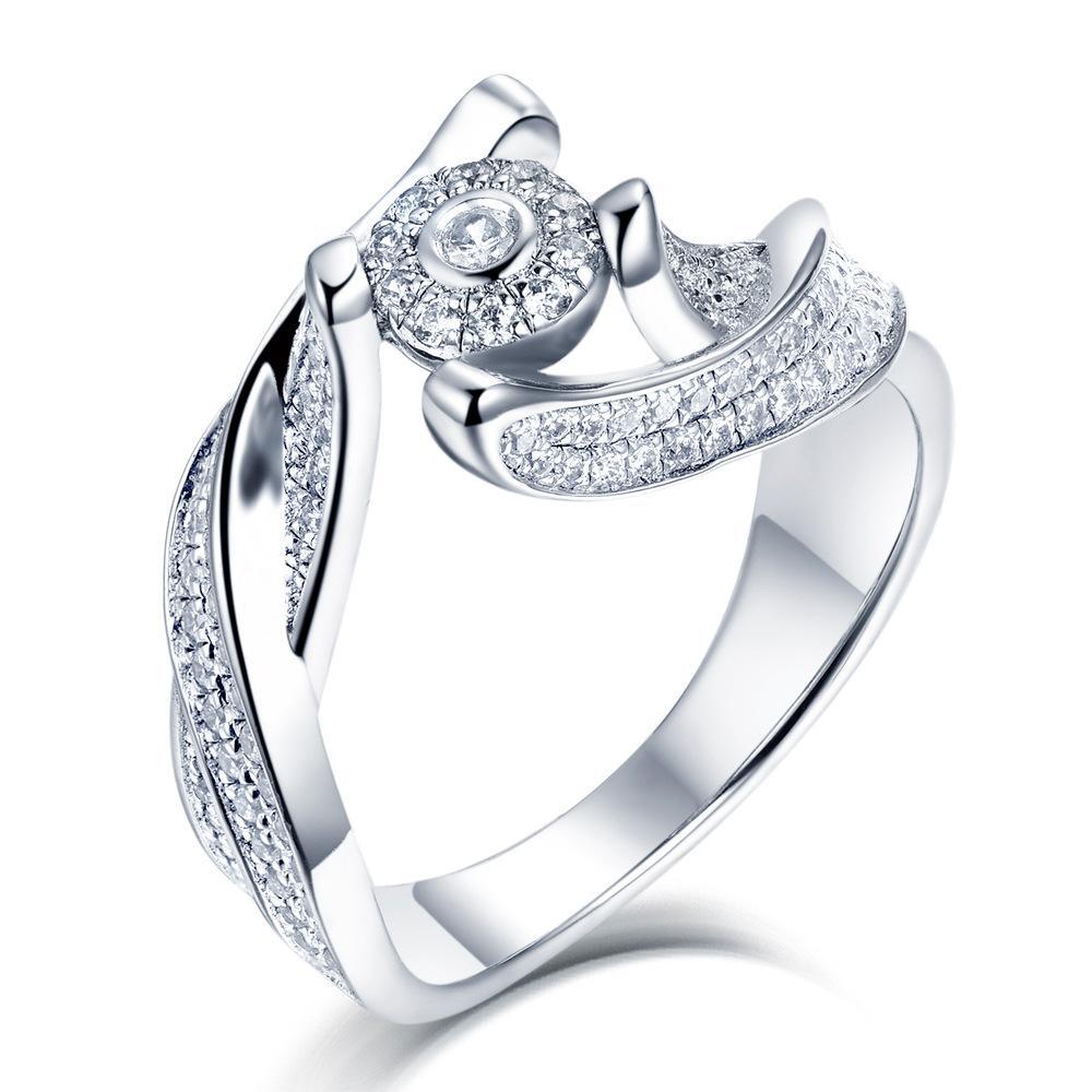 Европейских и американских поставок внешней торговли Лучшие продажи стерлингового серебра Romantic оптовой продажи ювелирных изделий способа Curve кольца женщин