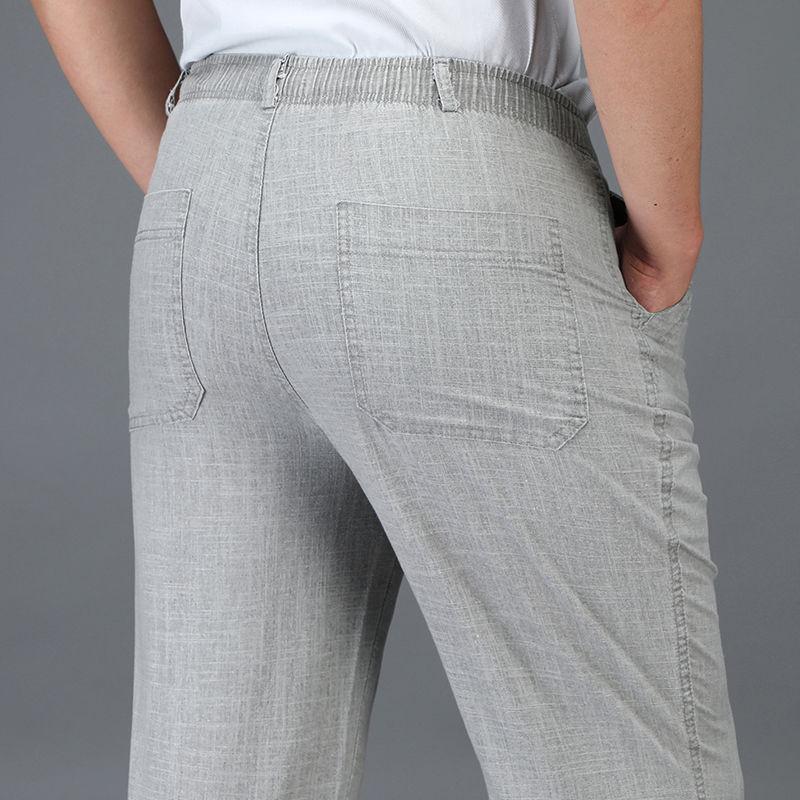 Pantalones para hombres Pantalones casuales Hombres pantalones de lino de verano Oficina de negocios de cintura elástica delgada de verano 5xl más tamaño