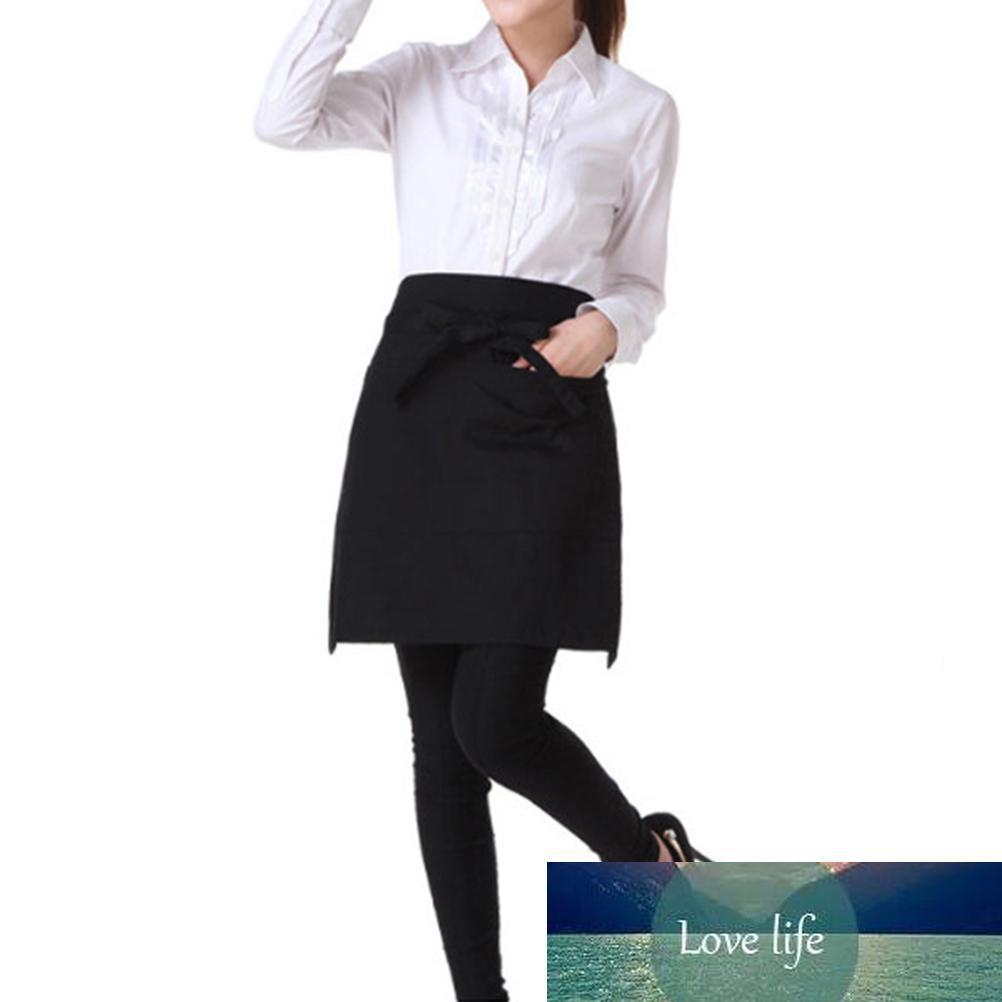 40 x 60cm cozinha que cozinha Pockets cintura avental Universal Unisex Women Men Short Avental Garçom com o dobro (preto)