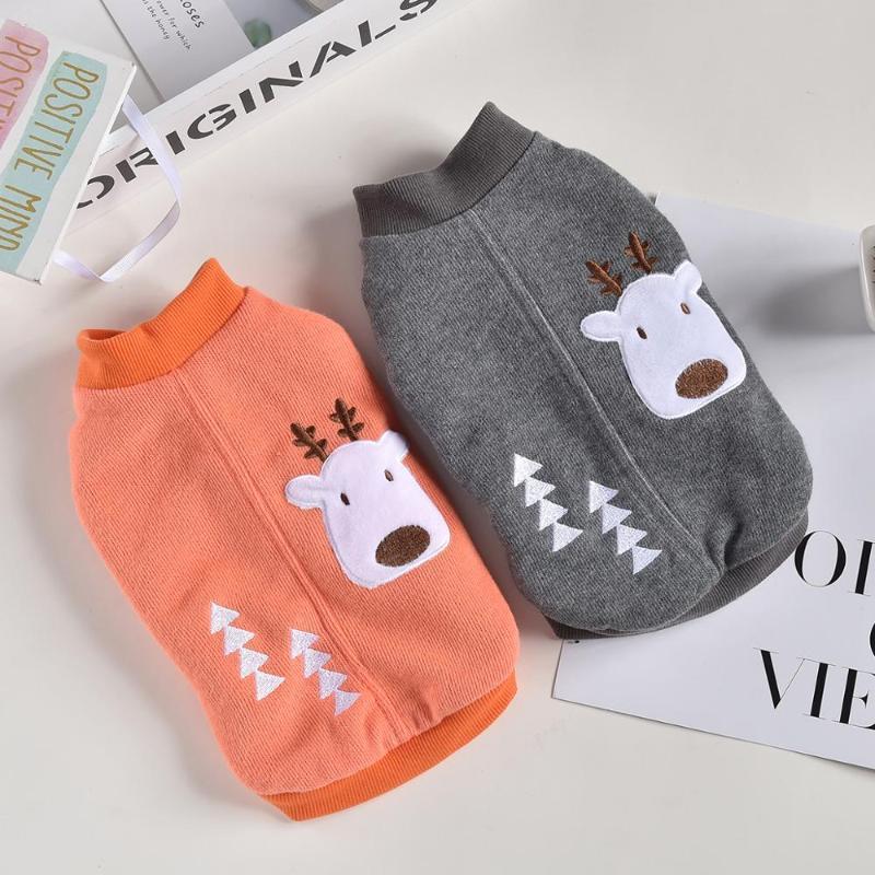 Vêtements pour chiens à capuche à capuche chat à capuche chat elk design animal de compagnie chiot manteau veste hiver vêtements chauds 7 tailles