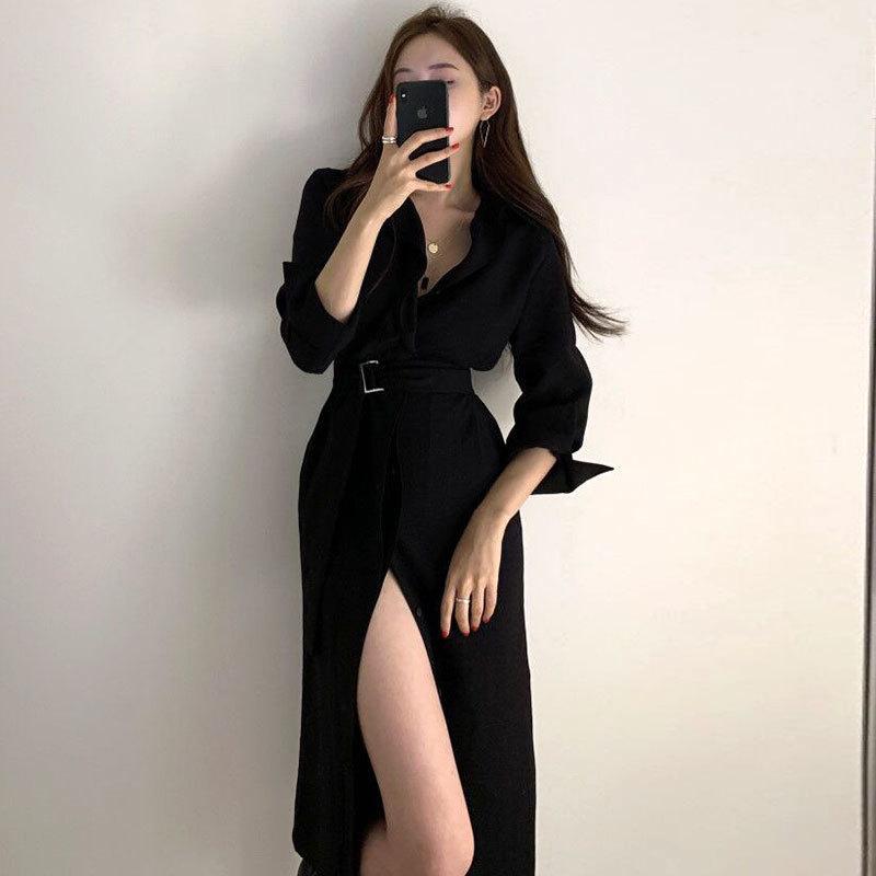 2021 Новый ELEAGNT Одетый женский корейский осень леди ретро-отворотный офис Office сред средней длины кружевной талии с длинным рукавом трассы гравированное платье 9JN8