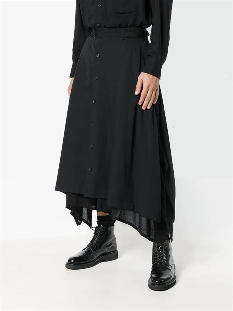 pantalon large jambe, deux couches culottes, pantalons bas de gamme en vrac d'origine de noir 1109