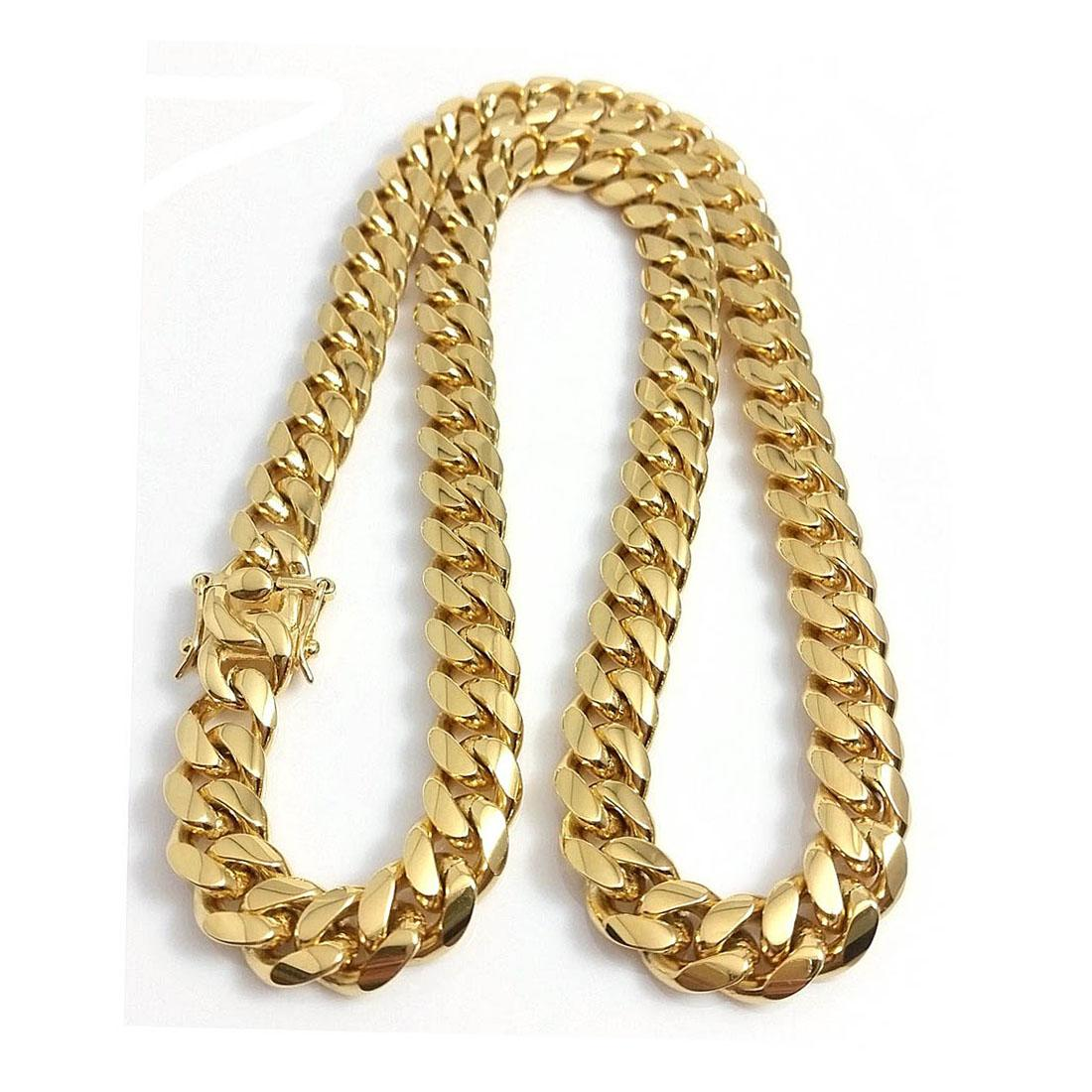 """15mm 18 """"-30"""" jóias de aço inoxidável 18k banhado a ouro de alta polida Miami Cuban Link Colar Homens Mulheres Corrida Cadeia De Segurança Dupla"""