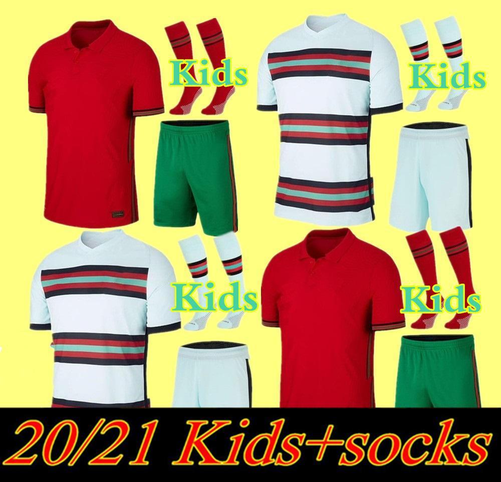 2020 Kit Kit de Futebol Jerseys Joao Felix Home Away Meninos Terno Camisa de Futebol 20 21 Portugal Guedes Criança Sets Camisa de Futebol